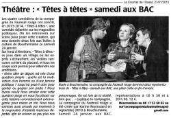 « Têtes à têtes », Le Courrier de l'Ouest 21/01/2015