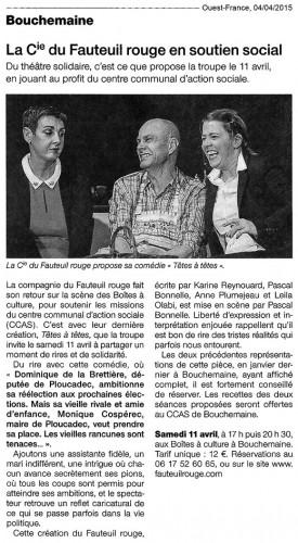 «Têtes à têtes», Ouest-France 04/04/2015